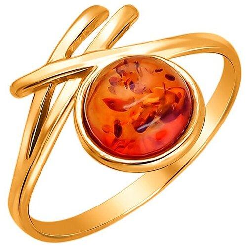 Балтийское золото Кольцо с 1 янтарем из серебра с позолотой 51К450071П, размер 18.5