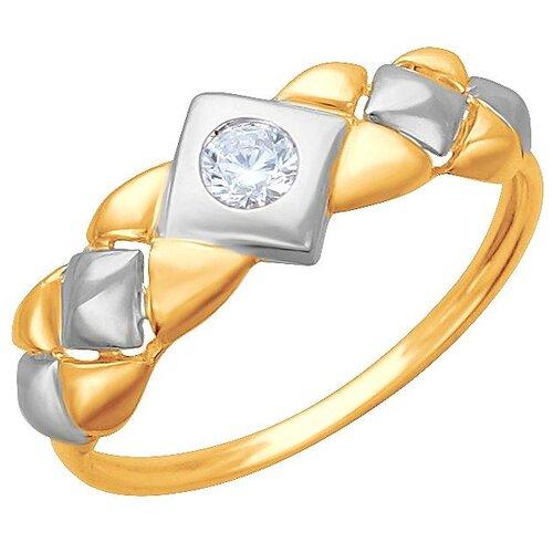 Эстет Кольцо с 1 фианитом из серебра 01К1512325АР, размер 17.5 ЭСТЕТ
