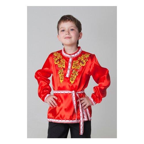 Купить Рубашка Страна Карнавалия Хохлома, цветы (3387619-3387624), красный, размер 140, Карнавальные костюмы