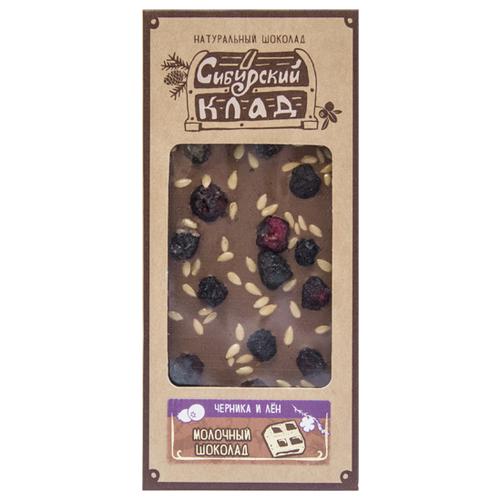 Шоколад Сибирский Клад молочный Черника и лен, 30 г
