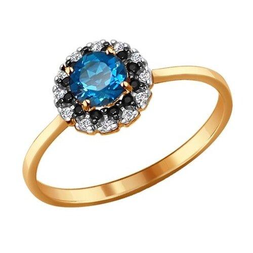 SOKOLOV Кольцо из золота с топазом, фианитами и чёрными фианитами 714077, размер 17.5