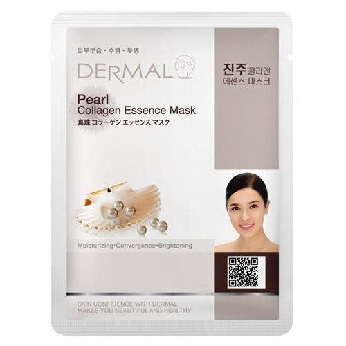 DERMAL Pearl Collagen Essence Mask тканевая маска с коллагеном и жемчужной пудрой, 23 г dermal тканевая маска bamboo collagen essence mask с коллагеном и экстрактом бамбука 23 г