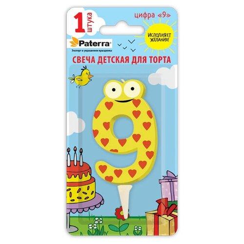 Paterra Свеча для торта Детская, цифра 9 желтый/красный