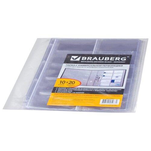 Купить BRAUBERG Папки-файлы на 20 визиток А4, комплект 10 шт. прозрачный, Файлы и папки