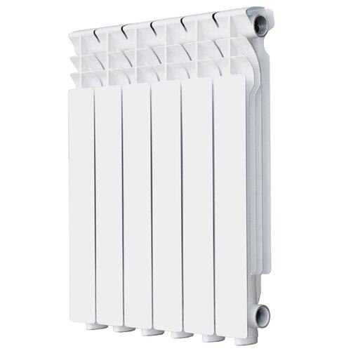 Радиатор секционный алюминий Halsen L-500/80 x6 6 секций, подключение боковое правое RAL 9016