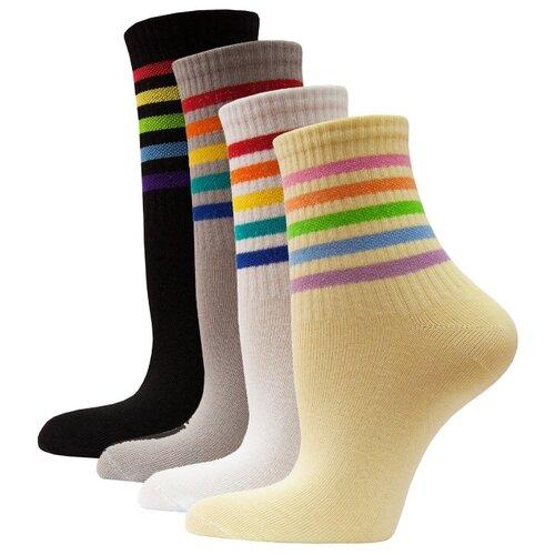 Носки женские яркие с полоской HOSIERY 71400 р 23-25 (36-39 размер обуви) микс 1 4 пар