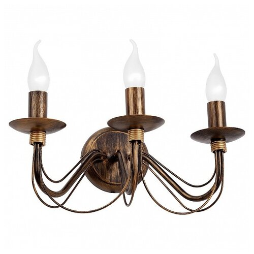 Настенный светильник Vitaluce V1205/3A, E14, 180 Вт, кол-во ламп: 3 шт., цвет арматуры: бронзовый настенный светильник vitaluce v1115 3a 180 вт