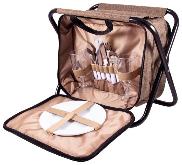 Набор для пикника на 2 персоне в сумке-стульчике: 2 тарелки, 2 бокала, 2 набора столовых приборов 33*23*25см 130021
