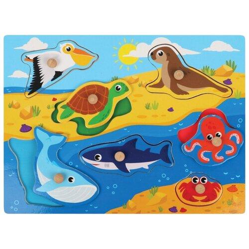 Купить Рамка-вкладыш Mapacha Животные океана (76792), 7 дет. голубой/желтый, Пазлы