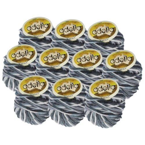 Купить Пряжа Adelia Emma секционного окрашивания, 20 % шерсть, 80 % акрил, 50 г, 50 м, 10 шт., №09 т.серый-св.серый
