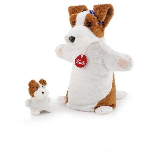 Trudi Игрушка на руку Собачка со щенком, 29867 белый/коричневый trudi собачка в стиле прованс 25 см trudi