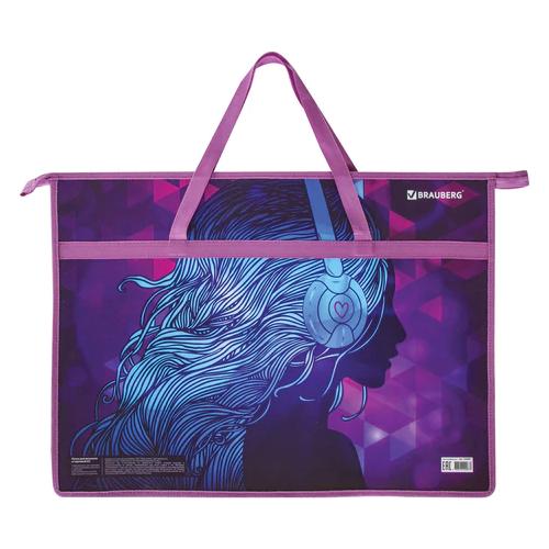 BRAUBERG Папка на молнии с ручками А3 Melody фиолетовый brauberg папка на молнии с
