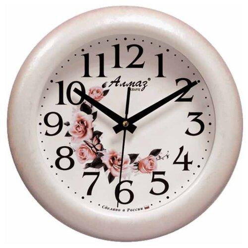 Часы настенные кварцевые Алмаз P34 бежевый/белый часы настенные кварцевые алмаз a79 a85 бежевый белый
