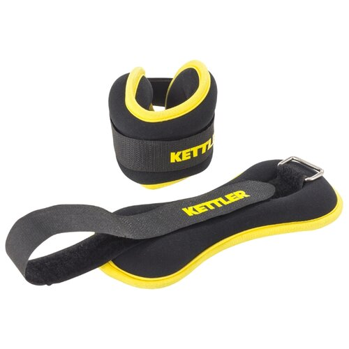 kettler блин стальной обрезиненный kettler 1 25 кг Набор утяжелителей 2 шт. 1 кг KETTLER 7373-260 черный/желтый