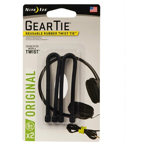 цена на Хомут Nite Ize Gear Tie (6 x 2 шт.) черный