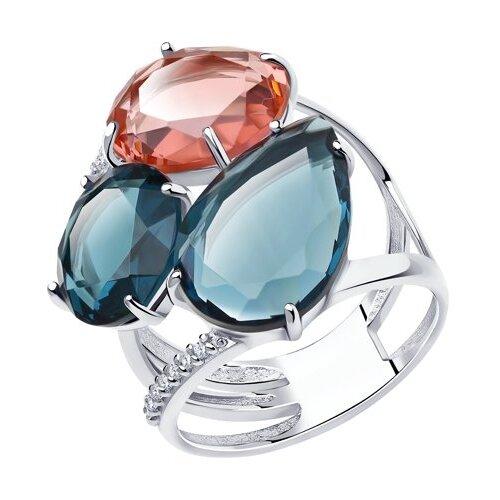 Diamant Кольцо из серебра со стеклянными вставками и фианитами 94-110-00661-1, размер 17.5