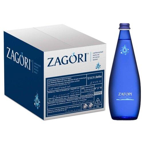 Минеральная вода Zagori газированная, стекло, 12 шт. по 0.75 л