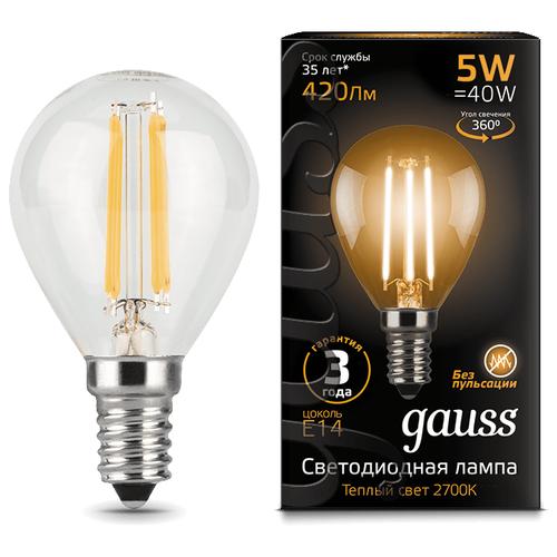 Лампа светодиодная gauss 105801105, E14, G45, 5Вт лампа светодиодная gauss 105101210 e14 g45 9 5вт