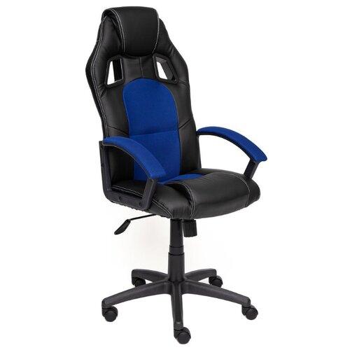 Компьютерное кресло TetChair Драйвер игровое, обивка: текстиль/искусственная кожа, цвет: черный/синий компьютерное кресло tetchair runner игровое обивка текстиль искусственная кожа цвет черный желтый