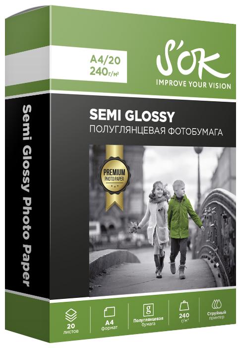 Бумага A4 20 шт. S'OK Semi Glossy 240 г/м2