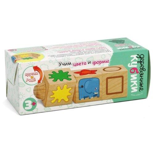 Купить Развивающая игрушка Десятое королевство Деревянные кубики на оси Учим цвета и формы (02968) коричневый, Развивающие игрушки
