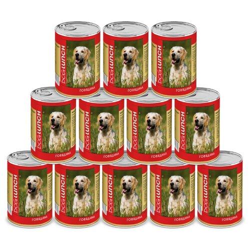 Влажный корм для собак Dog Lunch Говядина в желе для собак, 12 шт. в уп. х 410 г 12шт. х 410г