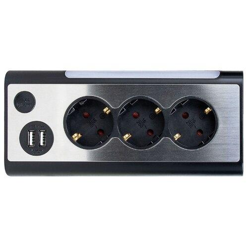 Сетевой фильтр Rombica NEO TRINITY, 3 розетки, 1.5 м, с/з, 16А / 3500 Вт черный по цене 1 990
