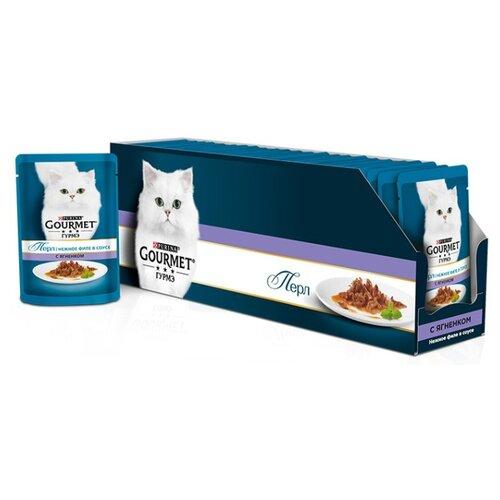Корм для кошек Gourmet Перл с ягненком 24шт. х 85 г (кусочки в соусе) корм для кошек gourmet перл с говядиной 24шт х 85 г кусочки в соусе