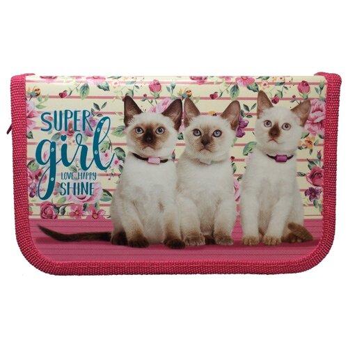 Купить Prof-Press Пенал Три сиамских котенка (ПН-5888) розовый, Пеналы