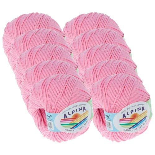 Купить Пряжа Alpina Rene, 100 % хлопок, 50 г, 150 м, 10 шт., №032 розовый