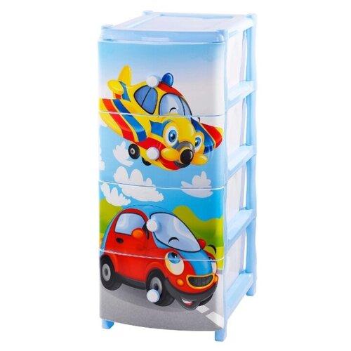 Купить Бельевой комод elfplast №16 Самолет (440) голубой, Детские комоды