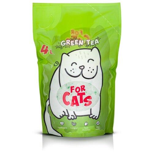 Фото - Силикагелевый наполнитель For Cats с ароматом зеленого чая, 4 л впитывающий наполнитель for cats с ароматом зеленого чая 4 л