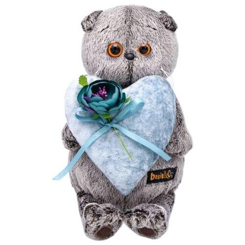 Купить Мягкая игрушка Basik&Co Кот Басик с сердцем из бархата 19 см, Мягкие игрушки