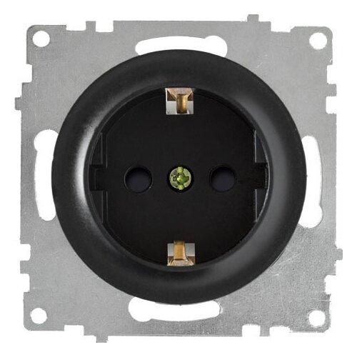 Розетка OneKeyElectro с заземлением OneKeyElectro, защитные шторки, винтовые контакты, цвет черный