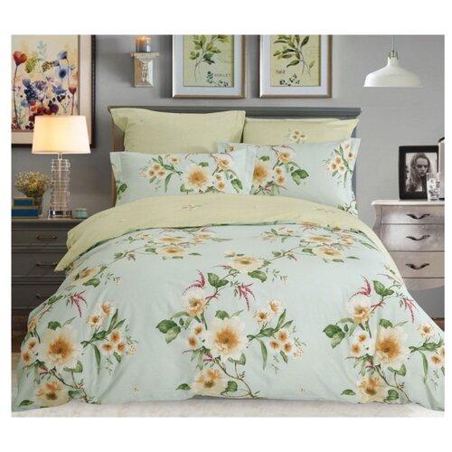 Постельное белье семейное СайлиД B-196, сатин голубой / зеленый кпб семейное голубой попугай сирень постельное белье с рисунком