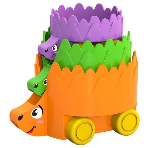 Купить Каталка-игрушка Нордпласт Ежики (480558) оранжевый/зеленый/фиолетовый, Каталки и качалки