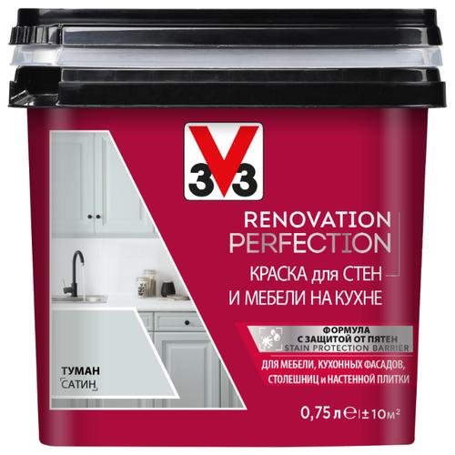Краска акриловая V33 Renovation Perfection для стен и мебели на кухне влагостойкая моющаяся полуматовая туман 0.75 л
