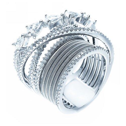 ELEMENT47 Широкое ювелирное кольцо из серебра 925 пробы с кубическим цирконием DM2273R_KO_001_WG, размер 16.75