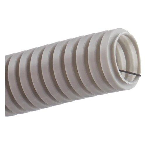Труба гофрированная ПВХ с зондом ЭРА 20 мм x 100 м серый серый