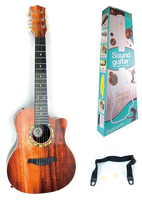 Купить Гитара акустическая, 6 струн, 81 см, цвет каштановый по низкой цене с доставкой из Яндекс.Маркета