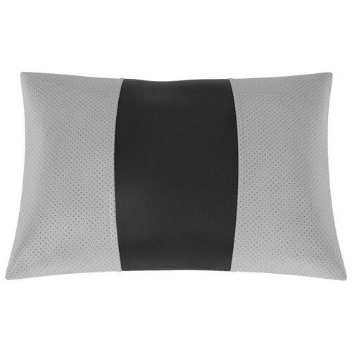 Автомобильная подушка, поясничный подпор Экокожа. Середина: чёрная гладкая экокожа. Боковины: т.-серая экокожа с перфорацией.
