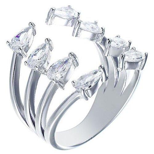JV Кольцо с фианитами из серебра R-VA0072-KO-001-WG, размер 17 jv кольцо с фианитами из серебра r25193 r 001 wg размер 17