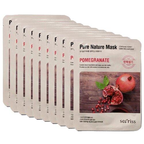 Secriss маска тканевая Pure Nature Mask Pack Pomeganate с экстрактом граната, 25 мл, 10 шт.