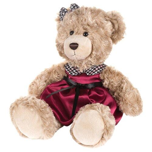 Купить Мягкая игрушка Maxitoys Мишка Моника в красном платье с клетчатым воротничком 20 см, Мягкие игрушки