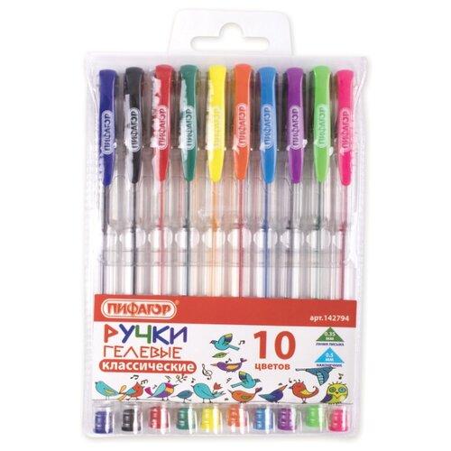 Пифагор набор гелевых ручек 10 цветов (142794), салатовый цвет чернил набор пластилина пифагор классический 6 цветов