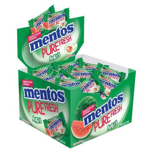 Жевательная резинка MENTOS Pure Fresh Арбуз без сахара в коробке 100 шт