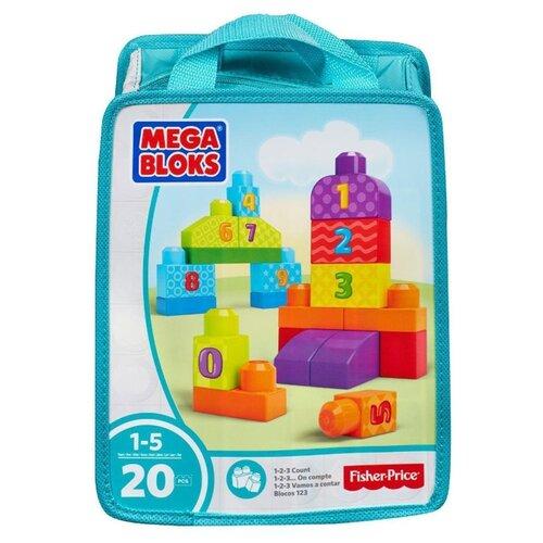 Купить Конструктор Mega Bloks First Builders CNH08/DLH85 Строй и учись (голубой), Конструкторы