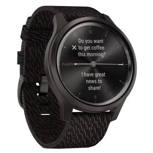 Умные часы Garmin Vivomove Style с плетеным нейлоновым ремешком, графитовый/черный умные часы garmin vivomove luxe с кожаным ремешком черный золотистый