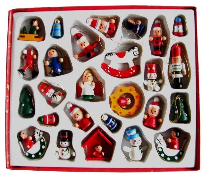 Breitner, Набор деревянных ёлочных игрушек новогодние бирюльки, 2-4 см (26 шт.) 55319