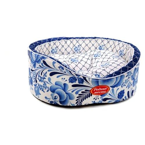 Лежак для собак и кошек Родные места Премиум №1 Гжель 43х38х15 см белый/голубой